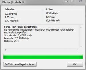 H2testw - Screenshot